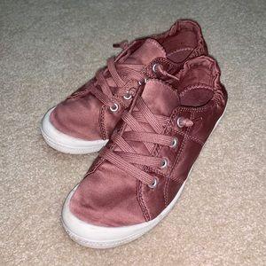 Madden Girl Baailey Slip-On Blush Satin Sneakers